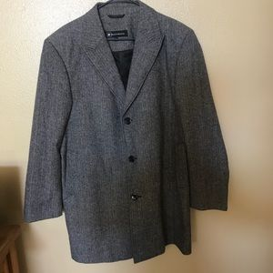 Bachrach Mens L wool cashmere car coat grey EUC